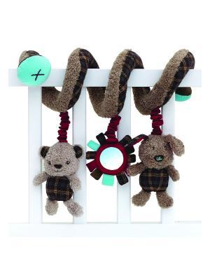 Игрушка-спираль медвежонок и щенок для детской кроватки Little Bird Told Me. Цвет: коричневый