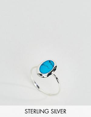 Kingsley Ryan Серебряное овальное кольцо с бирюзой. Цвет: серебряный