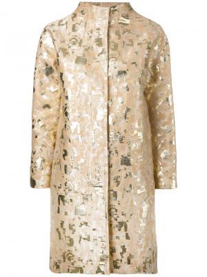 Жаккардовое пальто с отделкой металлик Gianluca Capannolo. Цвет: телесный