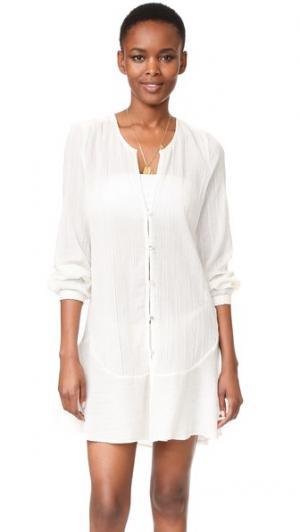 Однотонное пляжное платье Ebe ViX Swimwear. Цвет: оттенок белого
