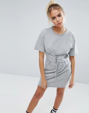 ASOS Платье‑футболка с отделкой в стиле корсета. Цвет: серый