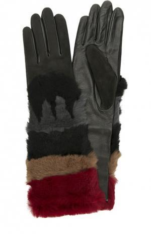 Кожаные перчатки с отделкой из меха кролика и замши Agnelle. Цвет: бордовый