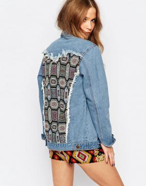 Ebonie n ivory Джинсовая куртка-oversize с отделкой на спинке. Цвет: синий