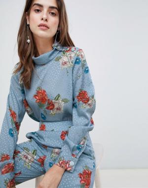 Gestuz Блузка с цветочным принтом Natacha. Цвет: синий