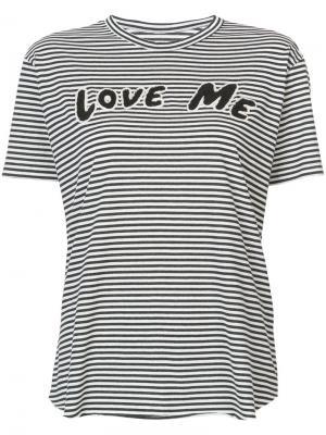 Love me patch striped T-shirt Sandrine Rose. Цвет: чёрный
