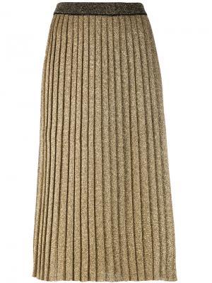 Плиссированная юбка вязки металлик Tory Burch. Цвет: металлический