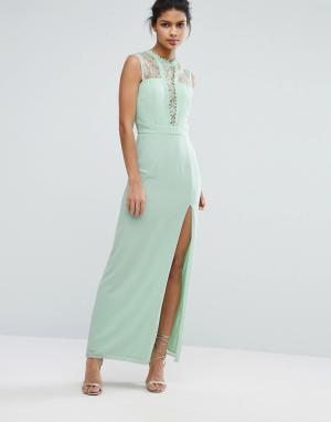 Elise Ryan Платье макси без рукавов с кружевной отделкой. Цвет: зеленый