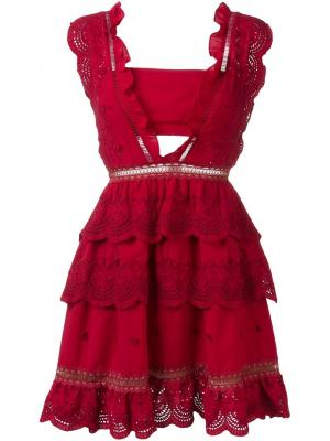 Кружевное платье Self-Portrait. Цвет: красный