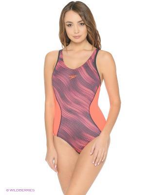 Слитный купальник Speedo. Цвет: персиковый, серый, красный
