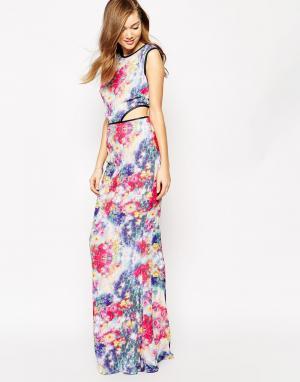 Boulee Платье макси с принтом и кожаной отделкой Max. Цвет: принт