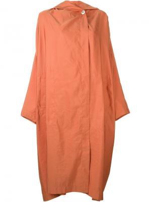 Легкое пальто с капюшоном Issey Miyake Vintage. Цвет: жёлтый и оранжевый