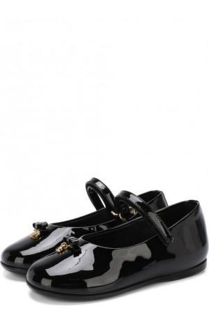 Лаковые балетки с застежками велькро и бантами Dolce & Gabbana. Цвет: черный