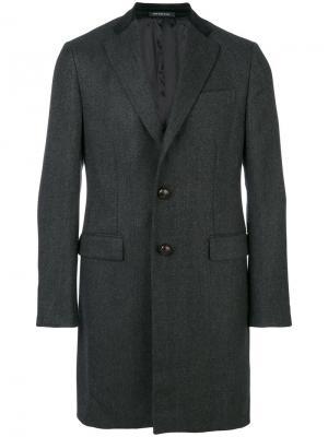 Однобортное пальто Caruso. Цвет: серый