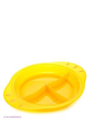 Тарелочка детская трехсекционная с нескользящим дном и ручками ПОМА. Цвет: желтый