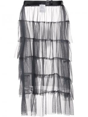 Прозрачная юбка с рюшами Area Di Barbara Bologna. Цвет: серый