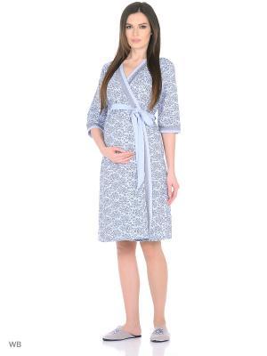 Халат для беременных FEST. Цвет: голубой, серый