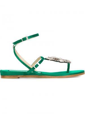 Декорированные сандалии Nº21. Цвет: зелёный