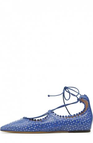 Кожаные балетки Willa с перфорацией Tabitha Simmons. Цвет: синий