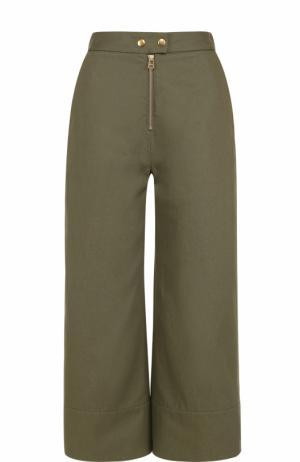 Укороченные расклешенные брюки с завышенной талией T by Alexander Wang. Цвет: хаки
