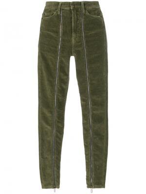 Вельветовые брюки на молнии Circus Hotel. Цвет: зелёный