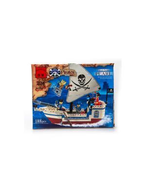Конструктор пластиковый Пиратский корабль с фигурками ENLIGHTEN. Цвет: коричневый, белый