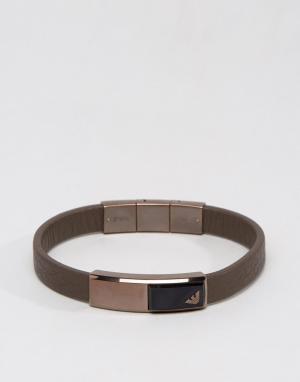 Emporio Armani Коричневый кожаный браслет с орлом. Цвет: коричневый