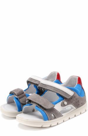 Комбинированные сандалии с застежками велькро Falcotto. Цвет: серый