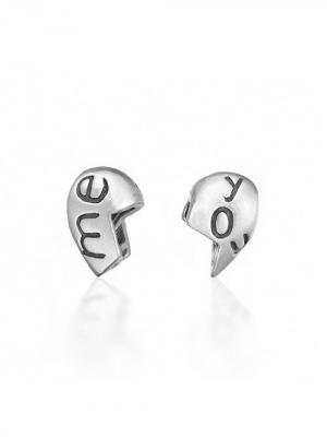 Серебрянный шарм две половинки  You Me Amore&Baci. Цвет: серебристый
