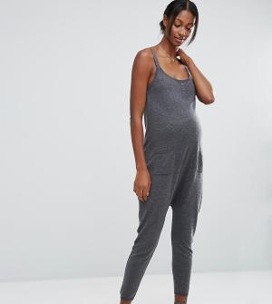 ASOS Maternity Трикотажный комбинезон для беременных LOUNGE. Цвет: серый