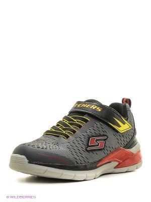 Кроссовки со светящейся подошвой SKECHERS. Цвет: серый, красный, желтый