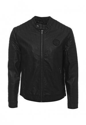 Куртка кожаная Deblasio. Цвет: черный