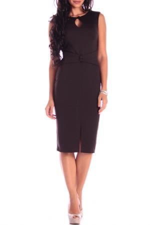 Приталенное платье с вшитым поясом Dioni. Цвет: шоколадный