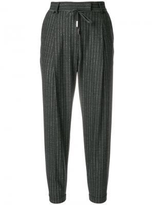 Укороченные брюки в полоску Eleventy. Цвет: серый