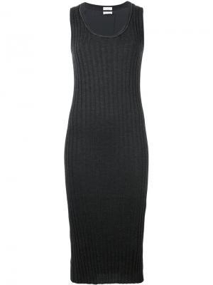 Облегающее платье в рубчик Brunello Cucinelli. Цвет: серый
