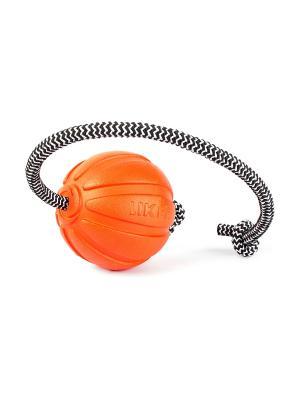 Мячик ЛАЙКЕР Корд на шнуре, 7см LIKER. Цвет: оранжевый