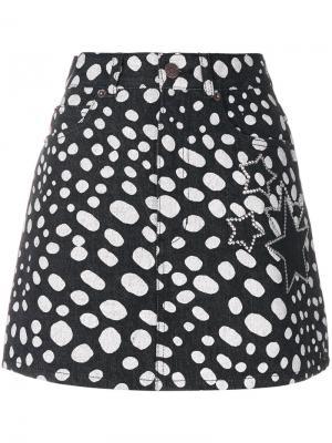 Джинсовая мини-юбка в горошек Marc Jacobs. Цвет: чёрный