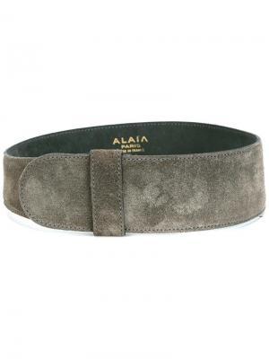 Широкий замшевый ремень Alaïa Vintage. Цвет: серый