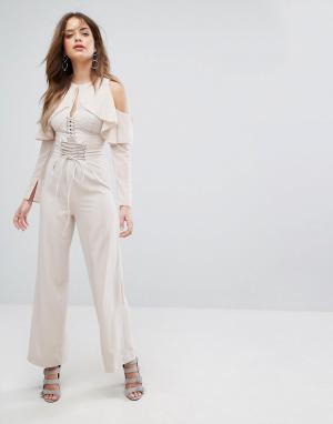 Lavish Alice Телесные широкие брюки со шнуровкой. Цвет: розовый