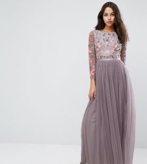 Needle & Thread Платье из тюля. Цвет: фиолетовый