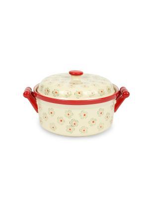 Кастрюля из жаростойкой керамикм (духовка/микроволновка) 1,2 л Peterhof. Цвет: красный, белый