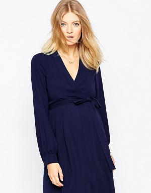 ASOS Maternity Платье-тюльпан для беременных с длинным поясом. Цвет: темно-синий