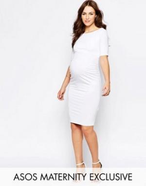 ASOS Maternity Платье с открытыми плечами для беременных. Цвет: белый