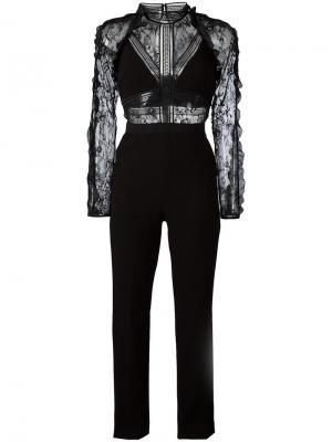 Lace panel jumpsuit Self-Portrait. Цвет: чёрный