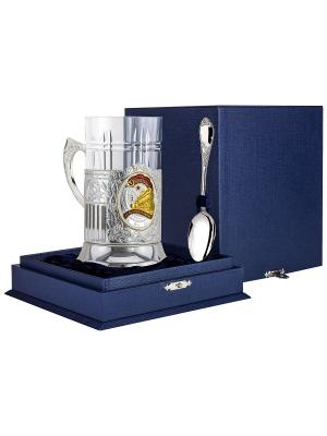 Набор д/чая Железнодорожник (подстаканник посеребр+хрустальный стакан+серебряная ложка)+футляр АргентА. Цвет: серебристый