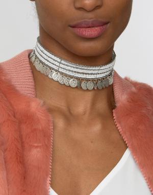 Raga Ожерелье-чокер с бусинами и монетками. Цвет: серебряный