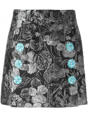 Жаккардовая юбка с металлическим отблеском Dolce & Gabbana. Цвет: чёрный