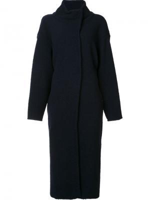 Длинное пальто свободного кроя Les Animaux. Цвет: синий