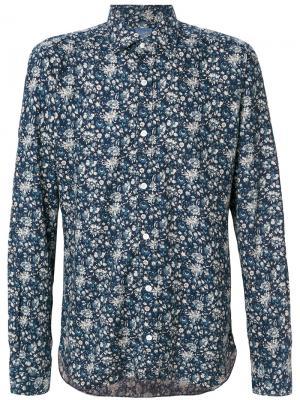 Рубашка с цветочным принтом Barba. Цвет: синий