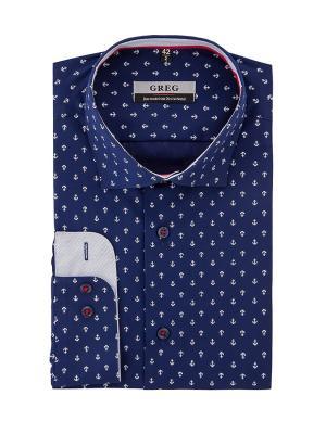 Рубашки GREG. Цвет: синий, белый