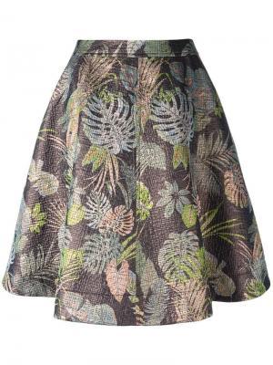 Юбка с принтом пальмовых листьев Essentiel Antwerp. Цвет: многоцветный